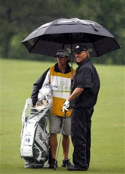 DULUTH, GA - MAY 15:  Greg Norman talks with his son and caddie Gregory wait for the green to clear on the first hole during the first round of the AT&T Classic at TPC Sugarloaf on May 15, 2008 in Duluth, Georgia.  (Photo by Matt Sullivan/Getty Images)