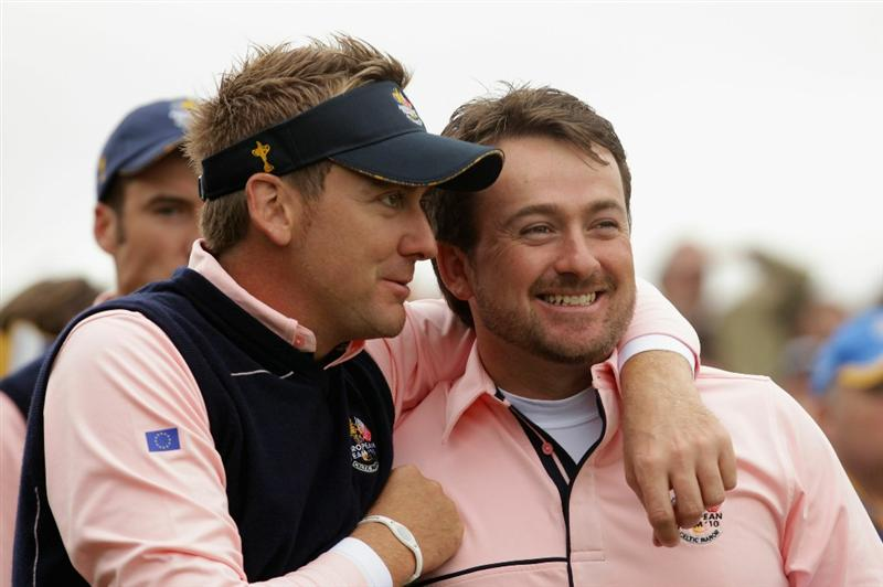 NEWPORT, WALES - SEPTEMBER 30:  Graeme McDowell (R) and Ian Poulter of Europe walk off a tee box during a practice round prior to the 2010 Ryder Cup at the Celtic Manor Resort on September 30, 2010 in Newport, Wales.  (Photo by Andrew Redington/Getty Images)