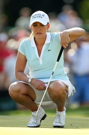 BETHLEHEM, PA - JULY 12:  Cristie Kerr lines up a putt on the 17th hole during the final round of the 2009 U.S. Women's Open at Saucon Valley Country Club on July 12, 2009 in Bethlehem, Pennsylvania.  (Photo by Streeter Lecka/Getty Images)