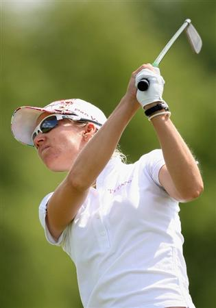 SPRINGFIELD, IL - JUNE 05:  Kris Tamulis hits her second shot on the ninth hole during the second round of the LPGA State Farm Classic golf tournament at Panther Creek Country Club on June 5, 2009 in Springfield, Illinois.  (Photo by Christian Petersen/Getty Images)