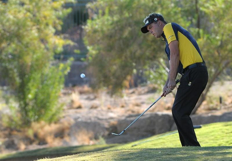 LAS VEGAS, NV- OCTOBER 16: Daniel Chopra of Sweden hits an approach shot to the 15th hole  during the second round of the Justin Timberlake Shriners Hospitals for Childeren Open at the TPC Summerland on October 16, 2009  in Las Vegas, Nevada. (Photo by Marc Feldman/Getty Images)