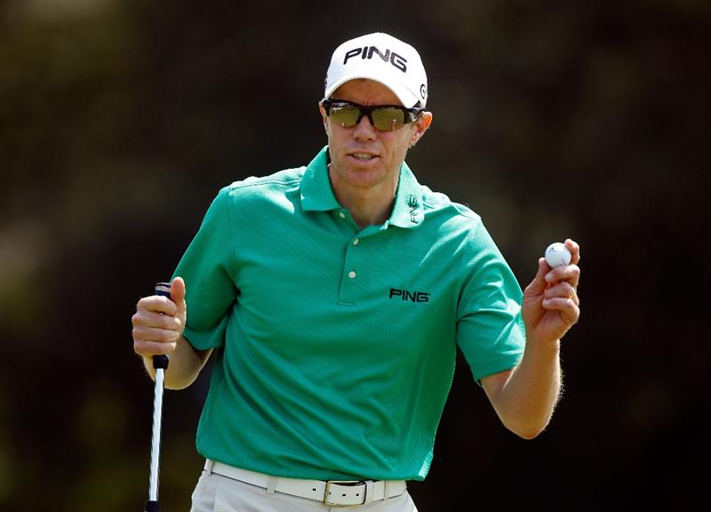 HILTON HEAD ISLAND, SC - APRIL 17:  Nick O'Hern of Australia waves to the gallery on the 17th hole during the third round of the Verizon Heritage at the Harbour Town Golf Links on April 17, 2010 in Hilton Head lsland, South Carolina.  (Photo by Scott Halleran/Getty Images)