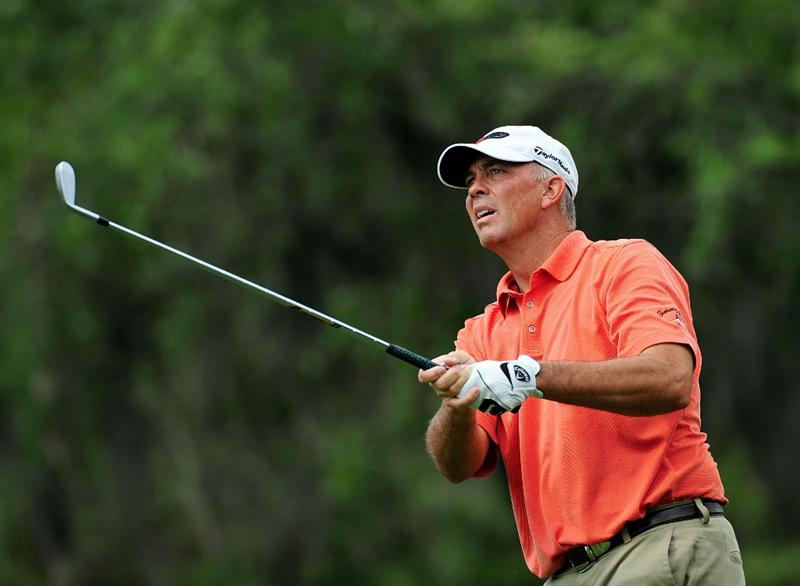PALM HARBOR, FL - MARCH 21:  Tom Lehman hits on the 7th hole during the third round of the Transitions Championship at the Innisbrook Resort and Golf Club on March 21, 2009 in Palm Harbor, Florida.  (Photo by Sam Greenwood/Getty Images)