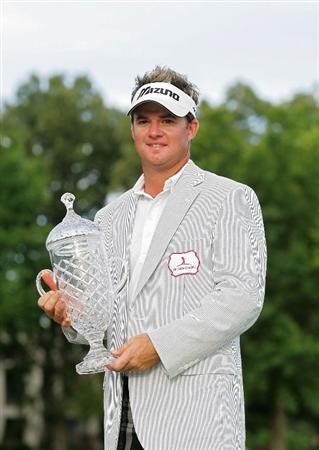 MEMPHIS, TN - JUNE 14:  Brian Gay of the United States holds the trophy after winning the St. Jude Classic at TPC Southwind held on June 14, 2009 in Memphis, Tennessee.  (Photo by Michael Cohen/Getty Images)