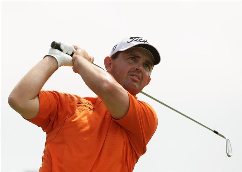 MELBOURNE, AUSTRALIA - NOVEMBER 14:  Greg Chalmers of New Zealand tees off on the 8th hole during round three of the 2009 Australian Masters at Kingston Heath Golf Club on November 14, 2009 in Melbourne, Australia.  (Photo by Mark Dadswell/Getty Images)