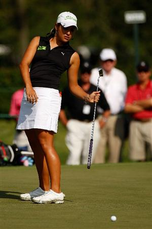 BETHLEHEM, PA - JULY 10:  Maria Jose Uribe of Colombia reacts after a missed putt on the 14th hole during the second round of the 2009 U.S. Women's Open at Saucon Valley Country Club on July 10, 2009 in Bethlehem, Pennsylvania.  (Photo by Chris Graythen/Getty Images)