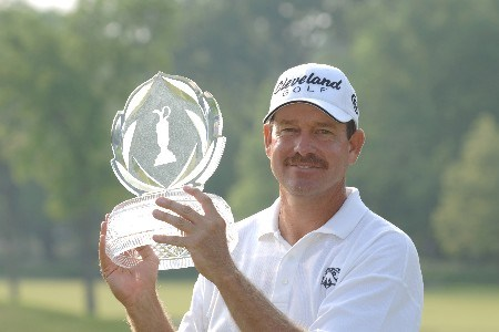 Bart Bryant holds the winner's trophy at The Memorial at Muirfield Village Golf Club in Dublin, Ohio  June 5, 2005.Photo by Al Messerschmidt/WireImage.com