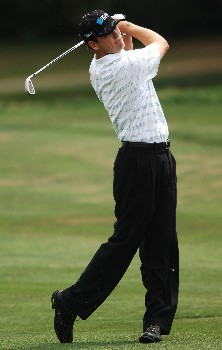 Thomas Levet hits from the 15th fairway during the second round of the EDS Byron Nelson Classic at TPC Los Colinas in Los Colinas, Texas May 13, 2005.Photo by Steve Grayson/WireImage.com