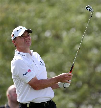 DOHA, QATAR - FEBRUARY 05:  Paul Lawrie of Scotland during the third round of the Commercialbank Qatar Masters at the Doha Golf Club on February 5, 2011 in Doha, Qatar.  (Photo by Ross Kinnaird/Getty Images)