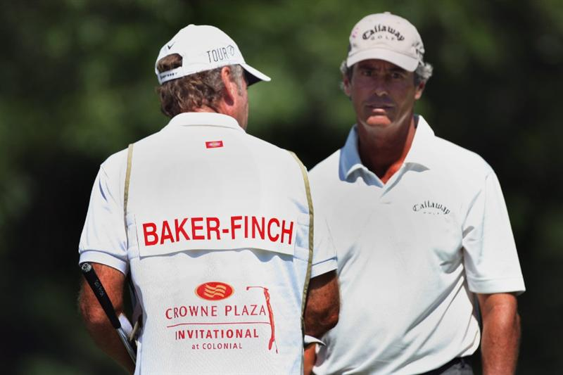FT. WORTH, TX - MAY 29: Ian Baker-Finch stands with his caddie on the 11th green during the second round of the Crowne Plaza Invitational at Colonial Country Club on May 29, 2009 in Ft. Worth, Texas. (Photo by Hunter Martin/Getty Images)