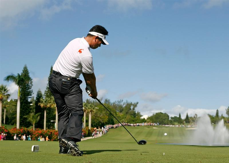 SOUTHAMPTON, BERMUDA - OCTOBER 20:  Y.E. Yang of South Korea hits his tee shot on the 2nd hole during the first round of the PGA Grand Slam of Golf on October 20, 2009 Port Royal Golf Course in Southampton, Bermuda.  (Photo by Andy Lyons/Getty Images)