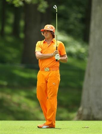 DUBLIN, OH - JUNE 06:  Rickie Fowler hits his second shot on the second hole during the final round of The Memorial Tournament presented by Morgan Stanley at Muirfield Village Golf Club on June 6, 2010 in Dublin, Ohio.  (Photo by Andy Lyons/Getty Images)