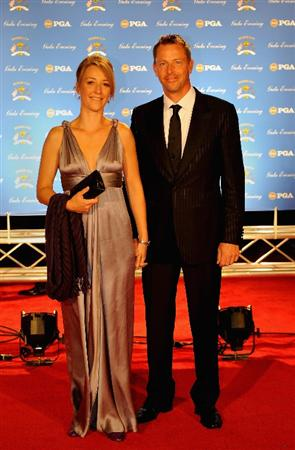 LOUISVILLE, KY - SEPTEMBER 17:  Soren Hansen of Sweden and the European Ryder Cup team poses with Anne Haghfelt on the red carpet before the Ryder Cup Gala dinner prior to the start of the 2008 Ryder Cup September 17, 2008 in Louisville, Kentucky.  (Photo by Sam Greenwood/Getty Images)