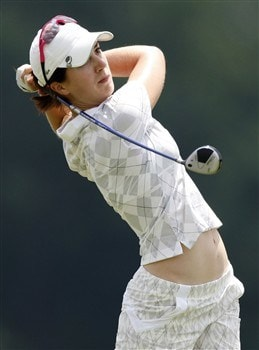 SPRINGFIELD, IL - JULY 18: Sandra Gal from Germany watches her tee shot on the eighth hole during the second round of the State Farm Classic at Panther Creek Country Club on July 18, 2008 in Springfield, Illinois.  (Photo by Gregory Shamus/Getty Images)