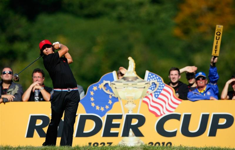 NEWPORT, WALES - OCTOBER 04:  Rickie Fowler of the USA tees off in the singles matches during the 2010 Ryder Cup at the Celtic Manor Resort on October 4, 2010 in Newport, Wales. (Photo by Tom Dulat/Getty Images)