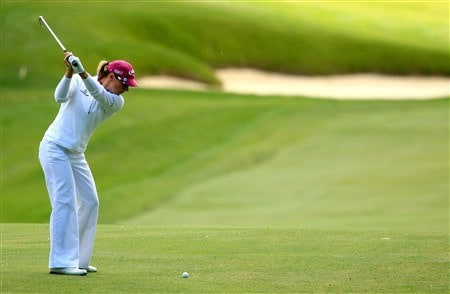 EDINA, MN - JUNE 28:  Annika Sorenstam of Sweden hits her approach shot on the third hole during the third round of the 2008 U.S. Women's Open at Interlachen Country Club on June 28, 2008 in Edina, Minnesota.  (Photo by Scott Halleran/Getty Images)
