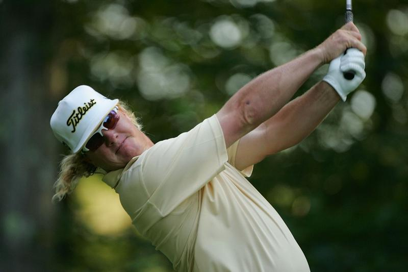 NORTON, MA - SEPTEMBER 05:  Charley Hoffman of the United States hits a drive during the second round of the Deutsche Bank Championship at TPC Boston held on September 5, 2009 in Norton, Massachusetts.  (Photo by Michael Cohen/Getty Images)
