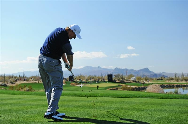 MARANA, AZ - FEBRUARY 24:  Ernie Els of South Africa plays his tee shot on the fifth hole during the second round of the Accenture Match Play Championship at the Ritz-Carlton Golf Club on February 24, 2011 in Marana, Arizona.  (Photo by Stuart Franklin/Getty Images)