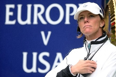 HALMSTAD, SWEDEN - SEPTEMBER 14:  European Team Captain Helen Alfredsson watches the play during the morning foursome matches of the Solheim Cup at on September 14, 2007 in Halmstad, Sweden.  (Photo by Scott Halleran/Getty Images)