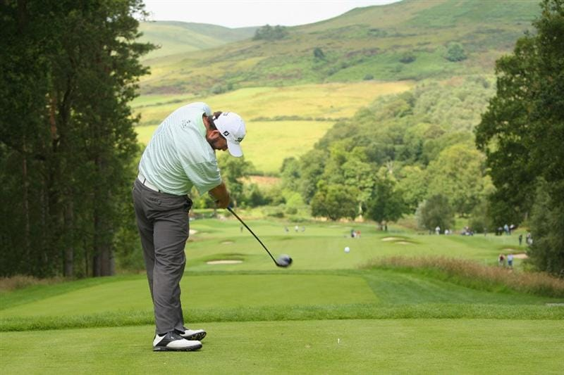 LUSS, SCOTLAND - JULY 09:  Kenneth Ferrie of England tees off on the 13th hole during the First Round of The Barclays Scottish Open at Loch Lomond Golf Club on July 09, 2009 in Luss, Scotland.  (Photo by Andrew Redington/Getty Images)