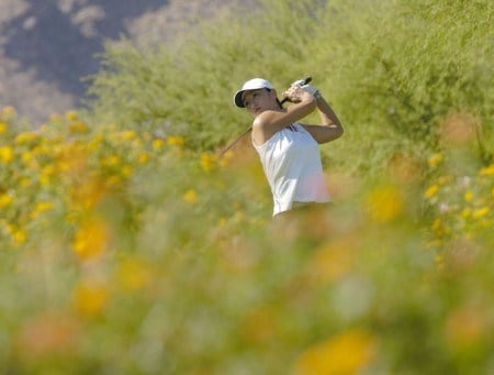 Grace Park hits from 8th hole during round three of the Samsung World Championship at Bighorn Golf Club in Palm Desert, California on October 15, 2005.Photo by Robert Benson/WireImage.com