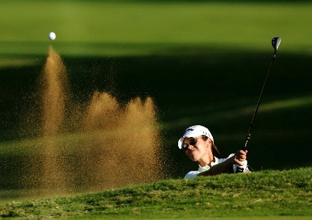 KAHUKU, HI - FEBRUARY 15:  Leta Lindley holes out from the 17th bunker during the first round of the SBS Open, the first event of the 2007 LPGA season at the Turtle Bay Resort Arnold Palmer Course on February 15, 2007 in Kahuku, Hawaii.  (Photo by Harry How/Getty Images)