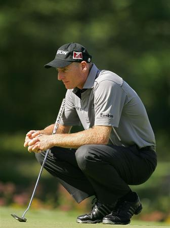 NORTON, MA - SEPTEMBER 05:  Jim Furyk of the United States lines up a putt during the second round of the Deutsche Bank Championship at TPC Boston held on September 5, 2009 in Norton, Massachusetts.  (Photo by Michael Cohen/Getty Images)