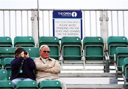 SOUTHPORT, UNITED KINGDOM - JULY 16:  A pair of spectators watch the action on the 4th hole during the third practice round of the 137th Open Championship on July 16, 2008 at Royal Birkdale Golf Club, Southport, England.  (Photo by Stuart Franklin/Getty Images)