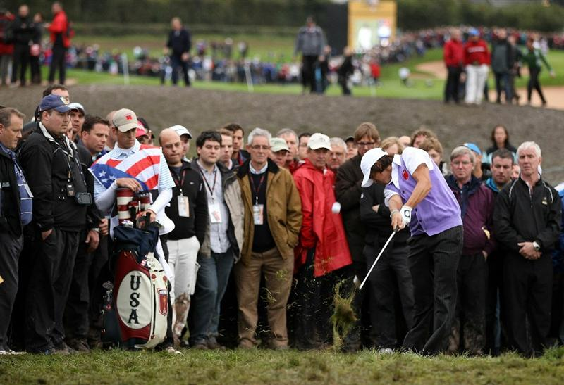 NEWPORT, WALES - OCTOBER 02:  Rickie Fowler of the USA hits from the rough during the  Fourball & Foursome Matches during the 2010 Ryder Cup at the Celtic Manor Resort on October 2, 2010 in Newport, Wales.  (Photo by Ross Kinnaird/Getty Images)
