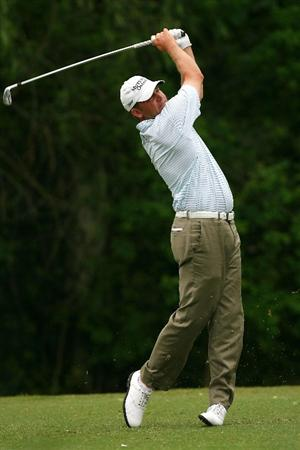 AVONDALE, LA - APRIL 24:  Jason Bohn tees off on the 14th hole during the continuation of the weather delayed second round of the Zurich Classic at TPC Louisiana on April 24, 2010 in Avondale, Louisiana.  (Photo by Chris Trotman/Getty Images)