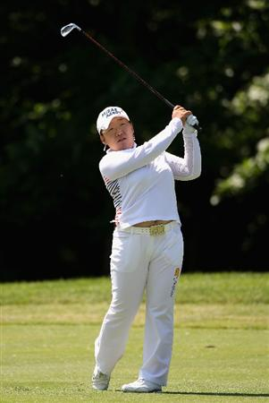 SPRINGFIELD, IL - JUNE 05:  Jiyai Shin of South Korea hits her second  shot on the eighth hole during the second round of the LPGA State Farm Classic golf tournament at Panther Creek Country Club on June 5, 2009 in Springfield, Illinois.  (Photo by Christian Petersen/Getty Images)