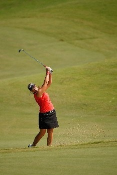 PRATTVILLE, AL - SEPTEMBER 30:  Maria Hjorth makes a shot from a bunker on the eighth hole during the final round of the Navistar LPGA Classic at the Robert Trent Jones Golf Trail at Capitol Hill on September 30, 2007 in Prattville, Alabama.  (Photo by Chris Graythen/Getty Images)