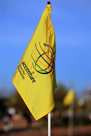 MARANA, AZ - FEBRUARY 23:  A World Golf Championship flag is seen on the practice green during a practice round prior to the start of the Accenture Match Play Championship at the Ritz-Carlton Golf Club at Dove Mountain on June 6, 2009 in Marana, Arizona.  (Photo by Scott Halleran/Getty Images)