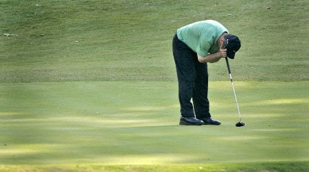 Greg Chalmers reacts to his missed putt at the 18th green during the second round of the Rex Hospital Open, May 7,2005, held at TPC of Wakefield Plantation, Raleigh, N.C. Chalmers missed the cut.Photo by Stan Badz/PGA TOUR/WireImage.com