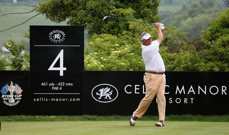 NEWPORT, WALES - JUNE 05:  Darren Clarke of Northern Ireland tees off on the fourth hole during the third round of the Celtic Manor Wales Open on The Twenty Ten Course on June 5, 2010 in Newport, Wales.  (Photo by Warren Little/Getty Images)