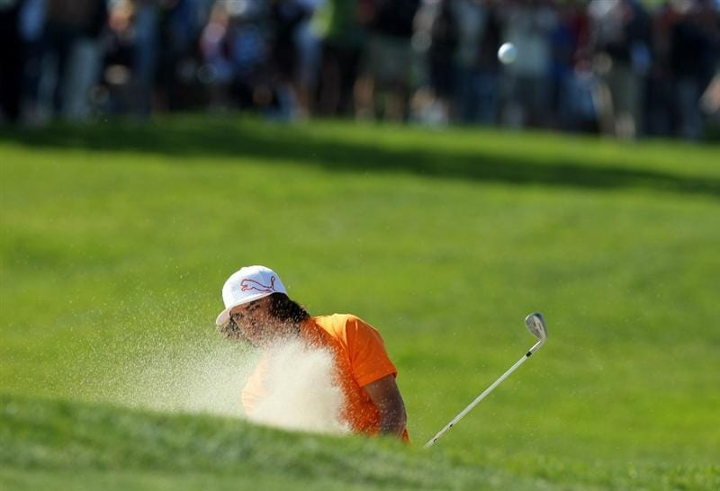 LA JOLLA, CA - JANUARY 29:  Rickie Fowler hits out of the bunker on the 6th hole during Round 3 of the Farmers Insurance Open at Torrey Pines on January 29, 2011 in La Jolla, California. (Photo by Donald Miralle/Getty Images)