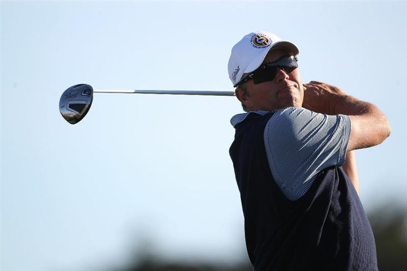 PEBBLE BEACH, CA - FEBRUARY 12:  Bo Van Pelt tees off from the 10th hole at the AT&T Pebble Beach National Pro-Am- Round Three at the Monterey Peninsula country club on February 12, 2011 in Pebble Beach, California.  (Photo by Jed Jacobsohn/Getty Images)