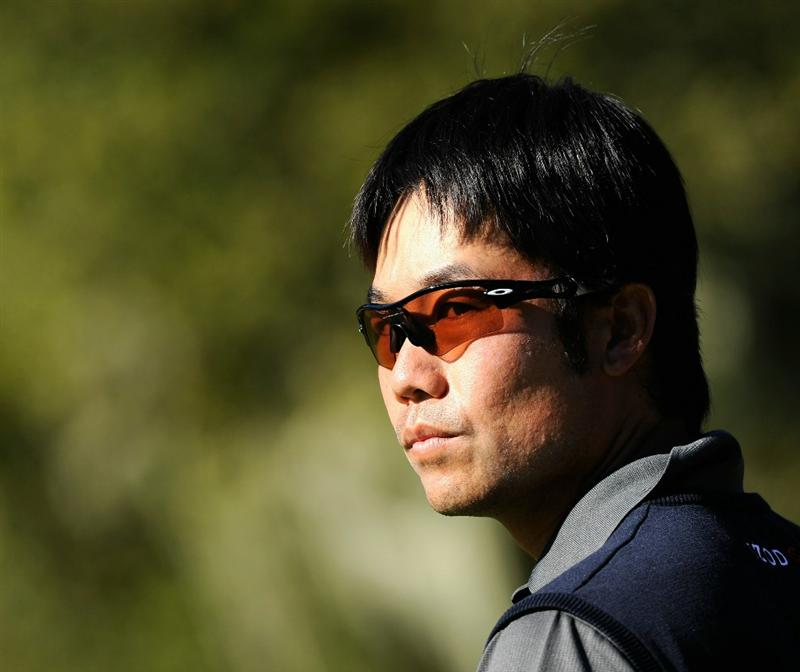 PEBBLE BEACH, CA - FEBRUARY 12:  Kevin Na ponders during the third round of the AT&T Pebble Beach National Pro-Am at the Spyglass Hil Golf Course on February 11, 2011  in Pebble Beach, California  (Photo by Stuart Franklin/Getty Images)
