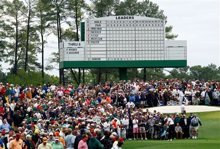 AUGUSTA, GA - APRIL 12:  Tiger Woods hits his tee shot on the third hole during the third round of the 2008 Masters Tournament at Augusta National Golf Club on April 12, 2008 in Augusta, Georgia.  (Photo by Jamie Squire/Getty Images)
