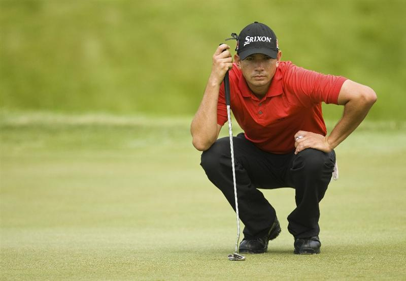 BRIDGEPORT, WV - JUNE 26: Bradley Iles of New Zealand lines up a putt on the second hole during the second round of the Nationwide Tour Players Cup at Pete Dye Golf Club on June 26, 2009 in Bridgeport, West Virginia. (Photo by Chris Keane/Getty Images)