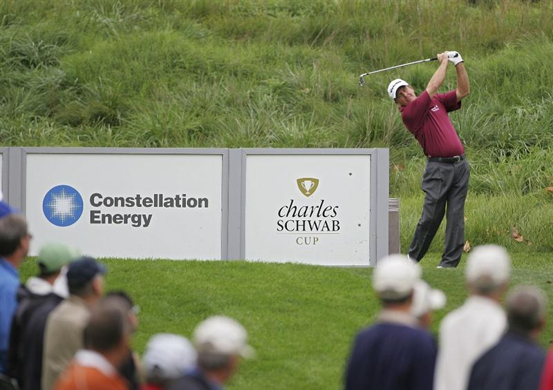 TIMONIUM, MD - OCTOBER 02:  Fred Funk hits his tee shot on the 11th hole during the second round of the Constellation Energy Senior Players Championship at Baltimore Country Club/Five Farms (East Course) held on October 2, 2009 in Timonium, Maryland  (Photo by Michael Cohen/Getty Images)