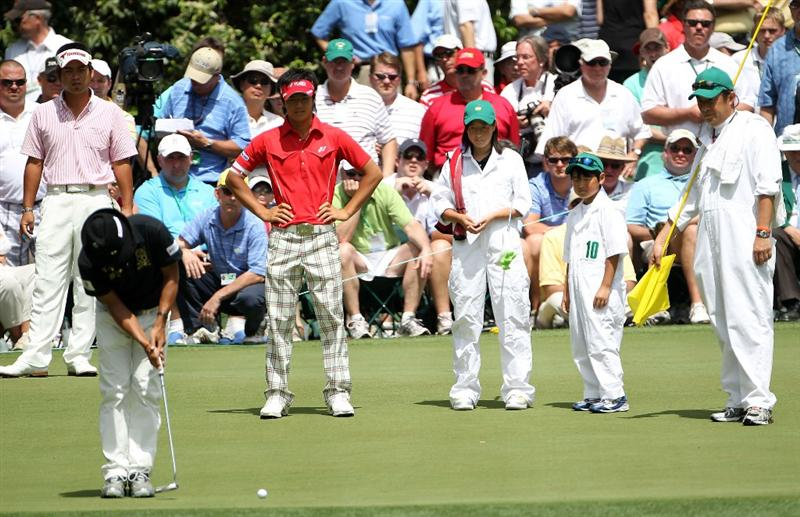 AUGUSTA, GA - APRIL 07:  Shingo Katayama of Japan putts during the Par 3 Contest prior to the 2010 Masters Tournament at Augusta National Golf Club on April 7, 2010 in Augusta, Georgia.  (Photo by Jamie Squire/Getty Images)