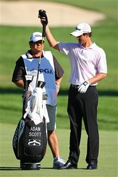 BLOOMFIELD HILLS, MI - AUGUST 08:  Adam Scott of England (R) pulls a club from his bag while standing alongside caddie Tony Navarro on the 12th hole during round two of the 90th PGA Championship at Oakland Hills Country Club on August 8, 2008 in Bloomfield Township, Michigan.  (Photo by Stuart Franklin/Getty Images)