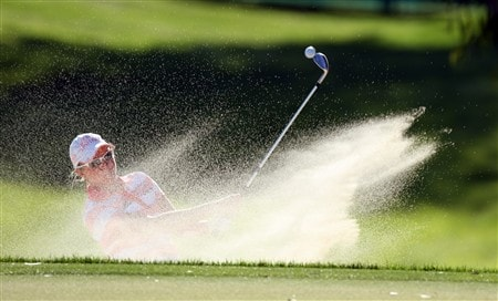 RANCHO MIRAGE, CA - APRIL 03:  Alena Sharp of Canada hits her second shot at the 8th hole during the first round of the Kraft Nabisco Championship at the Mission Hills Country Club, on April 3, 2008 in Rancho Mirage, California.  (Photo by David Cannon/Getty Images)