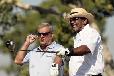 Jim Thorpe (R) and Fuzzy Zoeller wait to play during the second round of the 2007 Allianz Championship at the Old Course at Broken Sound Club in Boca Raton, Florida on February 10, 2007. Champions Tour - 2007 Allianz Championship - Second RoundPhoto by Pete Fontaine/WireImage.com