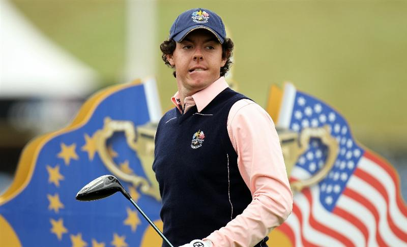 NEWPORT, WALES - SEPTEMBER 30:  Rory McIlroy of Europe looks on during a practice round prior to the 2010 Ryder Cup at the Celtic Manor Resort on September 30, 2010 in Newport, Wales. (Photo by Ross Kinnaird/Getty Images)