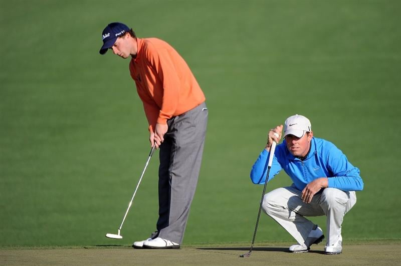 AUGUSTA, GA - APRIL 09:  Justin Leonard, (R) waits with Amateur Reinier Saxton of Holland on the second green during the first round of the 2009 Masters Tournament at Augusta National Golf Club on April 9, 2009 in Augusta, Georgia.  (Photo by Harry How/Getty Images)