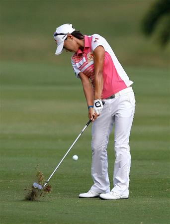 MONTEGO BAY, JAMAICA - APRIL 15:  Na Yeon Choi of South Korea plays her second shot from the third fairway during the first round of The Mojo 6 Jamaica LPGA Invitational at Cinnamon Hill Golf Course on April 15, 2010 in Montego Bay, Jamaica.  (Photo by Kevin C. Cox/Getty Images)