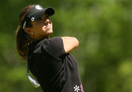 CORNING, NY - MAY 25:   Erica Blasberg hits her tee shot on the seventh hole during the final round of the LPGA Corning Classic at Corning Country Club on May 25, 2008 in Corning, New York.  (Photo by Kyle Auclair/Getty Images)