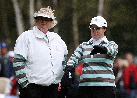 HALMSTAD, SWEDEN - SEPTEMBER 14:  Laura Davies and Becky Brewerton of Europe wait to play a shot during the morning foursome matches of the Solheim Cup at on September 14, 2007 in Halmstad, Sweden.  (Photo by David Cannon/Getty Images)